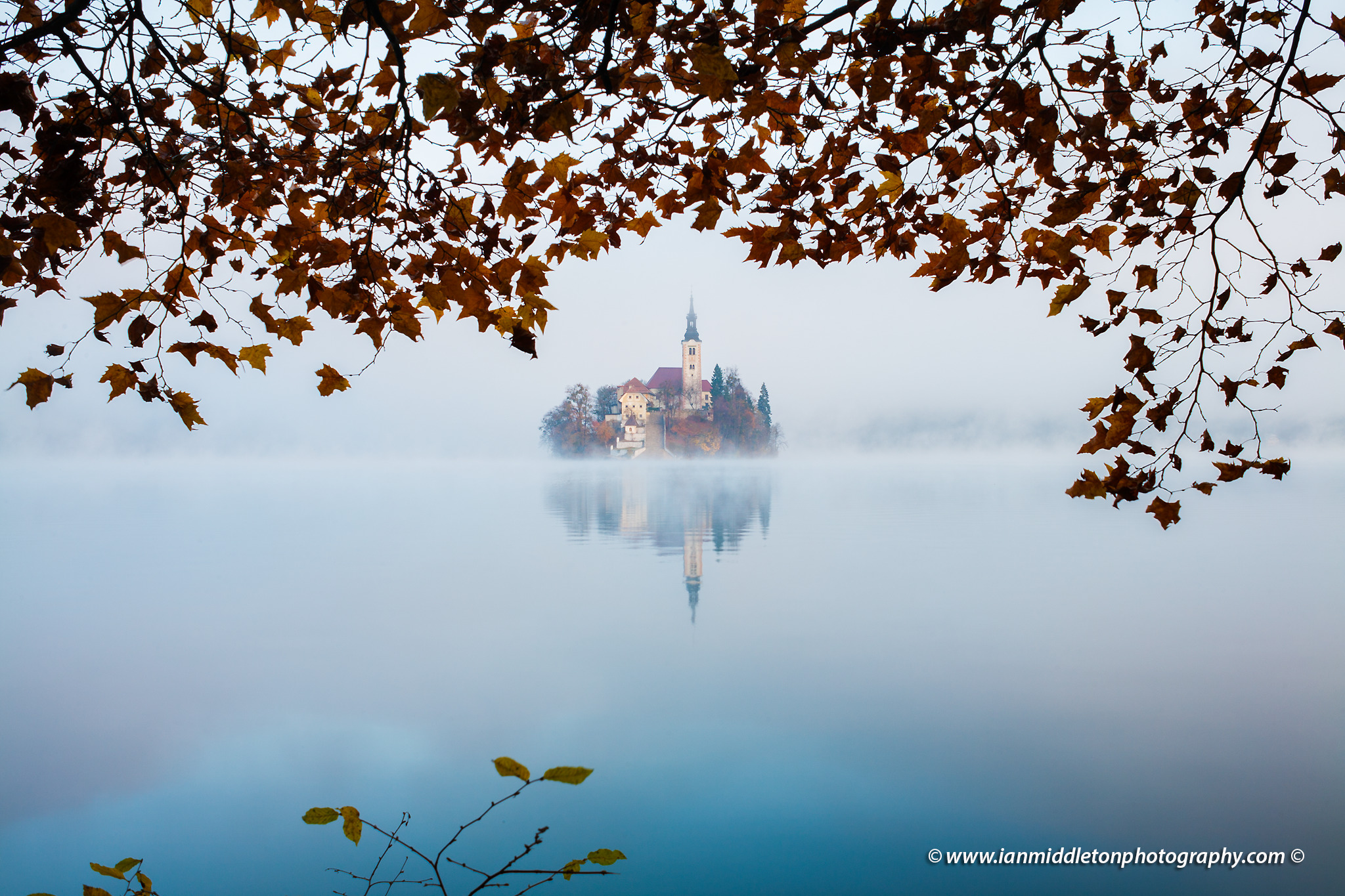 Lake Bled on a misty autumn morning